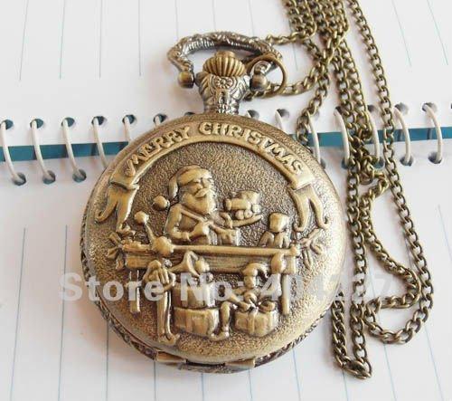 Feliz Navidad Free-Shipping-Vintage-Bronze-Santa-Pocket-Watch-Necklace-Pendant-charm-necklaces-watches-Xmas-Merry-Christmas-long