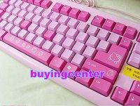 newly Waterproof USB Cartoon pink Keyboard Computer keyboard Hello Kitty keyboard