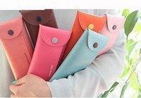 Hot selling Creative button PU folding Pencil bag Pen holder Store Bag folding pocket  pencil Pouch free shipping
