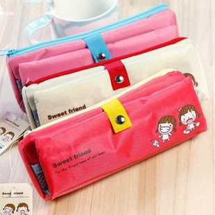 Hot selling New lovely friend folding pencil bag pencil pouch pen bag fabric bag free shipping(China (Mainland))