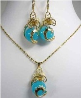 Hot beautiful Fashion Jewellery Natural jade dragon pendant necklace Earring set free shipping
