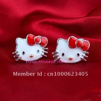 Free Shipping Hello Kitty Earrings with Red Bow 12pair/lot girls earrings Min.order is $10 kitty earrings