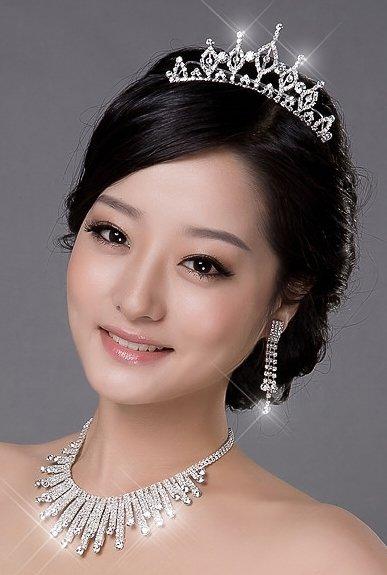 Necklace Earring Set Bride Wedding Bridal Accessories Tiara Comb 9925