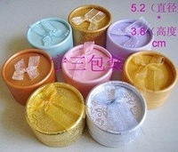 High quality ,48pcs/lot,with ribbon bow ,paper round earring ring box,Fancy Holiday jewelry gift box ,5.3x5.3x3.4cm