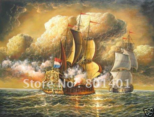 "Free shipping 100% handcraftsar Repro oil painting:""Sea Ship Marine Battle""(China (Mainland))"
