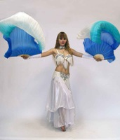 100% Real Silk Fan Veil for Belly Dance Chinese Silk Veil  Belly Dance Silk Veil Fans 180cm Free shipping