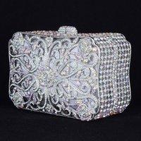 Crystals Luxurious Clear Flower Clutch Evening Handbag Purse Bag W