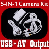 5 in 1 USB Camera Connection Kit  + AV iPad Cable Card Reader Adaptor for iPad1 iPad 2 SD TF Watch OutPut TV { Free Shipping }