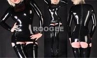 shining black latex wear