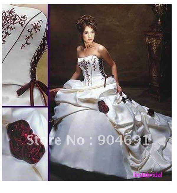 Burgundy And White Wedding Dress | Good Dresses