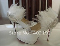 ws-1380  free shipping super quality white wedding shoes with feather