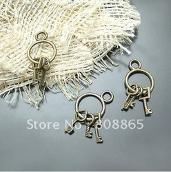C832 free shipping 100 pcs/lot wholesale lovely key charm antique bronze charm alloy charms necklace charm bracelet charms