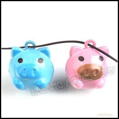 12pcs/lot Wholesale Mixed Piggy Jingle Bells Copper Charms Metal Bell Ornament Fit Festival 18mm 270287(China (Mainland))