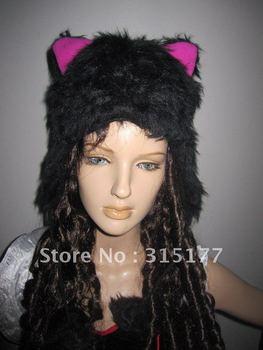 Free shipping Black Fur Cat Hood Animal hood Wholesale 10pc/lot Halloween accersories Fur hat 72006