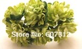 144 / lot  Green Mulberry Paper  Flower Bouquet/wire stem/ Scrapbooking flower Free shipping
