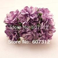 144 / lot  Purple Mulberry Paper Flower Bouquet/wire stem/ Scrapbooking flower Free shipping PA-41