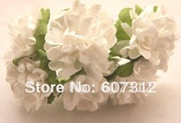 144 / lot  White  Mulberry Paper  Flower Bouquet/wire stem/ Scrapbooking flower Free shipping