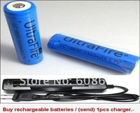 2 PCS18650-3000mA lithium-ion battery 3.7V-rechargeable battery- Wholesale-Quality -battery(get a charger)charger