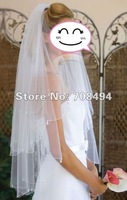 Free shipping best selling new style bead two-layer with comb tulle veil for the bride bridal dresses accessories-perfect gowns