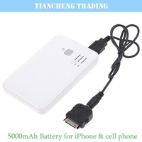 Free shipping! 5000mAh Duable USB External Backup Battery for iPhone iPod iPad mobile phones.