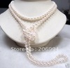 "new arrive design 60"" Noblest White Freshwater Pearl Necklace 7-8mm pearl Jewelry fashion jewellery"