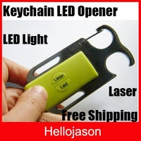 Free Shipping 4 in 1 Keychain Opener Bottle Opener Bar Beer Tools with laser led  200pcs/lot