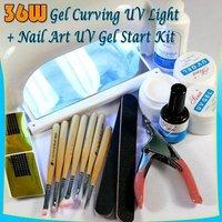 36W NAIL UV CURING LAMP DRYER + UV GEL BRUSH KIT 19#