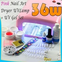 36W Pink UV Nail Art Dryer UV Lamp+UV Full Gel Set #105