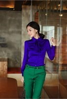 Fashion promotion Women summer shirt OL dress Rayon tops Sexy blouse elegant coat office lady shirts