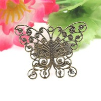free ship!!!22*33mm antique brass bronze plated butterfly shape ring base/lead free nickel free