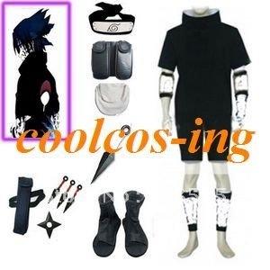 Free Shipping Naruto Sasuke Uchiha 2nd Black Cosplay Costume with Accessories