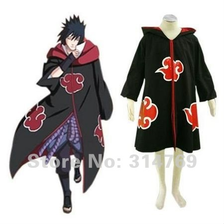 Fashion Naruto Cosplay Costume - Naruto Akatsuki Cloak Costume with Hat,Hawk Team Sasuke Uchiha Halloween Party Costumes(China (Mainland))