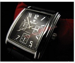 FREE SHIPPING Luxury Square Black Leather Strap Men Watch Wrist Watch Quartz Watch*Best Gift & Retail Goods(China (Mainland))
