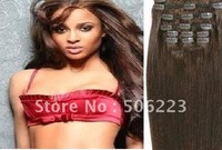 DIY Clip in on hair extensions #4 chocolate brown , 100g/pcs  1000g/lot Free DHL OR EMS SHIPPING