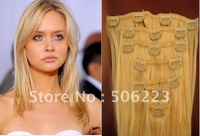 "full head Clip in on hair extensions 20"" clip in hair human extension #60 platinum blonde, 85g/pcs 10 pcs/lot"