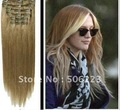 60cm human hair extensions 24 inch clip  hair extensions #18 ash blonde 70g/pcs, 10pcs/lot order