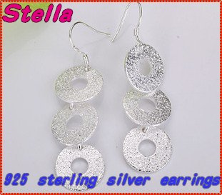 Free Shipping,Fashion jewelry wholesale, silver jewelry production, processing, wafer 925 silver earrings Sansha