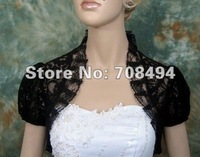 Free shipping 100% best selling black sexy short sleeve lace wedding bolero for bride bridal dresses accessories-perfect gowns