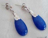 New fashion Hot Beautiful natural charming blue jade silver flowers earring diamand earrings free shipping