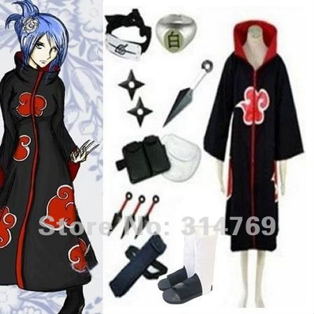 Free Shipping,Apparel Naruto Cosplay Costume - Naruto Akatsuki Konan Cosplay Costume Set,Halloween Costumes,Party Cosplay(China (Mainland))