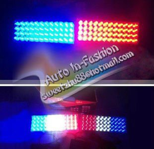 Free Shipping!! 2*48 96 LED Car Flash Strobe Light 3 Flashing Modes Emergency Red / blue / White/Abmer