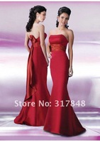 Collection beautiful formal red strapless with bow ruffle sash trumpet design floor length bridesmaid dresses BD09