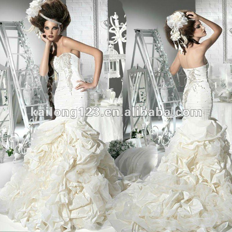 Romantic Beaded Pinup Mermaid Wedding Gown 2012