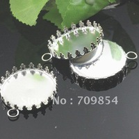 Free Ship!!!! silver plated cabochon  settings pendant  crown trays/flatback/25mm