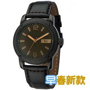 Free Shipping Men's Tea-brown Old-Style Calendar Quartz Watch(China (Mainland))