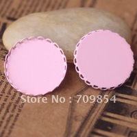 Free Ship!!!!  cabochon  settings pendant pink  lace  trays/flatback/25mm