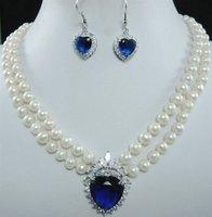 white freshwater pearl necklace & earring blue zircon
