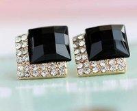 2012 New Vintage Luxury Black Gemstone Earrings Stylish Simulated Diamond Ear Studs Women's Free Shipping 60pair/lot