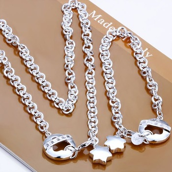 wholesale 925 Sterling Silver jewelry,925 necklace + bracelet jewelry set, Free Shipping, S107