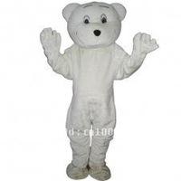 Lovely White Bear Short Plush Adult Animal Mascot Costume Adult Character Costume Cosplay mascot costume free shipping